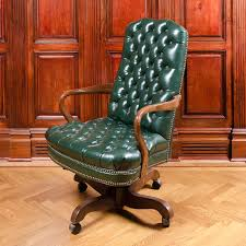 office chair vintage. Vintage Tufted Green Leather Office Chair