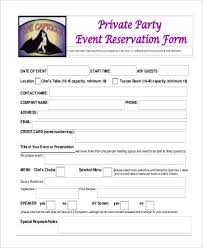 Table Reservation Template Free Reservation Form