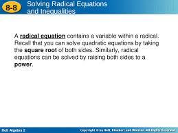 holt algebra 2 8 8 solving radical