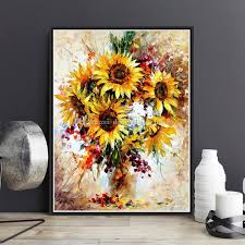 2018 abstract sunflower diy paint by numbers hand painted canvas painting home living room office decor painting for living room unique gift from