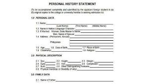 Personal Description Sample Personal Statement Forms 7 Free Documents In Word Pdf