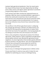 sample essay on challenges facing agriculture in britain  2 maintain high agricultural