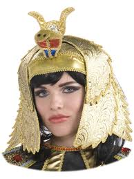 Womens Gold Egyptian Queen Cleopatra Costume Crown Headpiece Hat