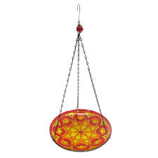 stain glass bird feeders painted feeder red mosaic stained
