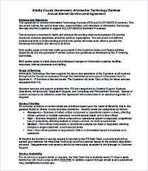 Internal Service Level Agreement Template Service Level