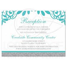 wedding reception card turquoise silver wedding reception card silver grey and turquoise lace