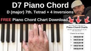 D Piano Chord Chart D7 Piano Chord D Major 7th Inversions Tutorial Free Chord Chart