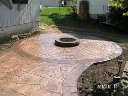 stamped concrete patio with square fire pit. Stamped Concrete Patio With Square Fire Pit. Delighful  Pit .