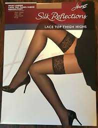 Hanes Thigh Highs Size Chart Hanes Silk Reflections Lace Top Thigh High Jet Black