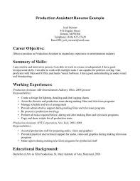 Production Assistant Resume Template Film Production Resume Lukexco Ideas