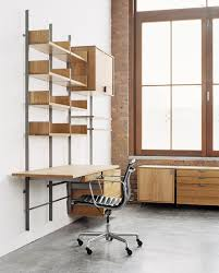 office shelving systems. As4 Desk Configuration In Solid White Oak \u0026amp; Cold-rolled Steel Photograph By: Office Shelving Systems