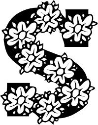 白黒モノクロの花文字イラストフリー素材英語の大文字no928花
