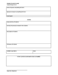 Incident Report Form By Caitlin Tew Teachers Pay Teachers