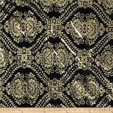 Gold Damask Background Starlight Sequined Mesh Damask Gold Black