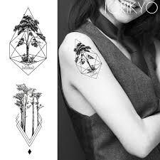 Temporary Tattoo Geometric Pine Tree Stickers Women Arm Art Water Transfer Tatoo Men Self Adhesive Wrist Fake Tattoo Women Line