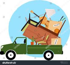 Pickup Truck Loaded Furniture Vector Illustration Stock Vector