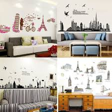 mixed order places of interest cartoon wall stickers home decor world s famous building wall decal stickers