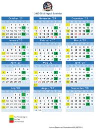 2019 20 Payroll Calendar Prattville Alabama