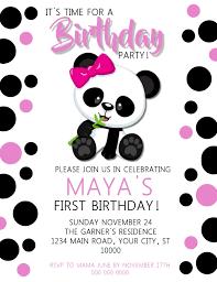 Panda Girl Birthday Invitation Template Postermywall