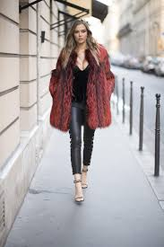 paris france november 29 josephine skriver is seen wearing a fake fur coat