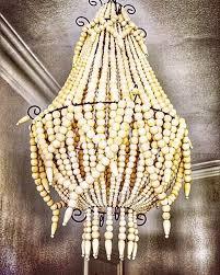 handmade bali wooden beaded chandelier