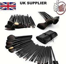 details about black 32 pcs makeup brushes kit cosmetic make up set roll free pouch bag case