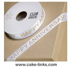 Anniversary Ribbon Happy Anniversary Ribbon Gold Cake Links Ltd