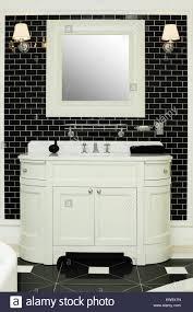 Stilvolle Badezimmer Innenraum Schwarz Weiß Design Stockfoto Bild