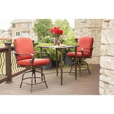 hampton bay outdoor balcony height bistro set chili cushions weather resistant