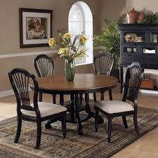 hilale wilshire 7 piece round dining table set in pine and black on 4