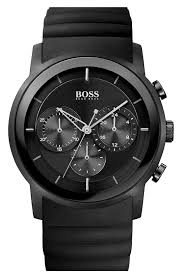 boss by hugo boss watches trends men watches boss black round chronograph rubber strap watch