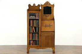 secretary hutch desk victorian oak antique side by side secretary desk bookcase beveled
