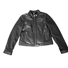 dkny leather and fabric biker jacket