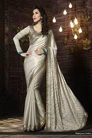 Stunning Designer Sarees Grey Satin Stunning Designer Saree