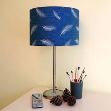 Navy Blue Lampshade White Feathers Denim Drum Ceilingbedside Table Lamp Shade Ebay
