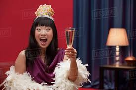 Elegant Asian Elegant Asian Woman Drinking Champagne On New Years Eve Stock