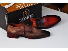 tuccipolo mens derby style luxury shoe side handsewn bleached brown suede upper and leather sole