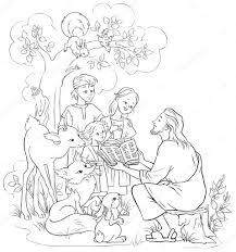 Jezus Lezen Van De Bijbel Aan Kinderen En Dieren Kleurplaat Ook