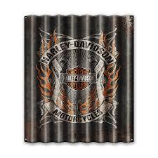 harley davidson flames corrugated metal sign