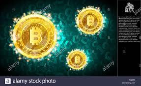 Golden Bit Coins Flying On Light Blue Horizontal Background