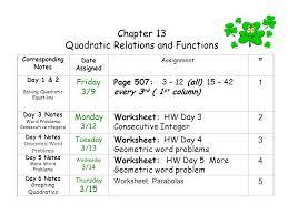 quadratic relations and functions
