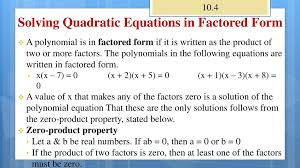 12 solving quadratic equations in factored form