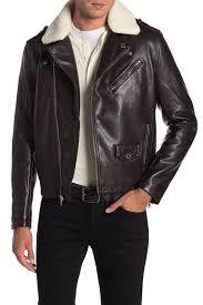 michael kors men s brown webster waxy faux fur moto jacket