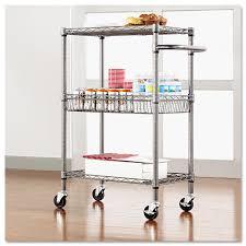 alera three tier wire rolling cart 28w x 16d x 39h black anthracite com
