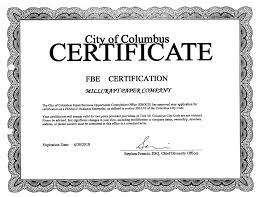 City Of Columbus Fbe Certificate Exp 3 18 Millcraft