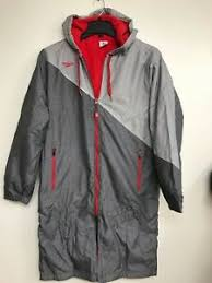 Details About Speedo Unisex Color Block Parka Jacket Red Lined Fleece Size Small