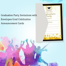 Online Announcement Cards Innovative Graduation Party Invitations 50 Pcs Beautifully Designed Printing Card For High School Graduation Party Supplies