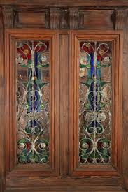 american heart pine entry door with stained glass windows peacock transom for