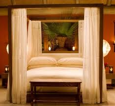Love this modern four poster bed with curtains! Want it! | Home Decor |