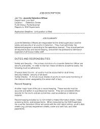 Juvenile Detention Officer Resume Objective Resume Cover Letter